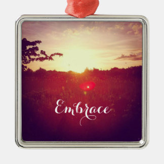 Elegant Field Sunset With Lens Flare & Custom Text Christmas Ornament