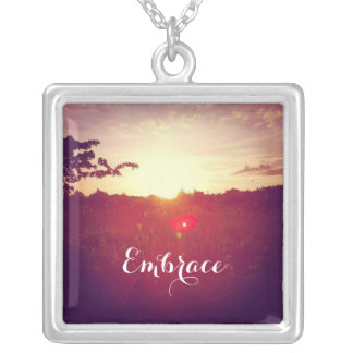 Elegant Field Sunset With Lens Flare & Custom Text Silver Plated Necklace