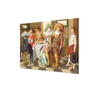 Elegant Figures Feasting at a Table Canvas Print