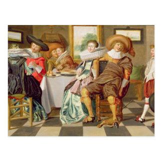 Elegant Figures Feasting at a Table Postcard