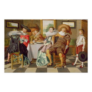 Elegant Figures Feasting at a Table Poster