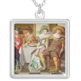 Elegant Figures Feasting at a Table Silver Plated Necklace