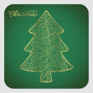 Elegant filigree Christmas tree Square Sticker
