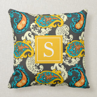 Elegant Filigree Paisley Swirls Monogram Cushion