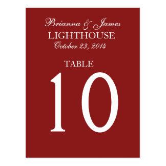Elegant Firebrick Red Wedding Table Number Card