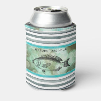 Elegant Fishing Lakeside Cabin Monogram Can Cooler