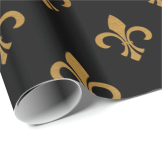 elegant Fleur De Lis pattern black gold party wrap Wrapping Paper