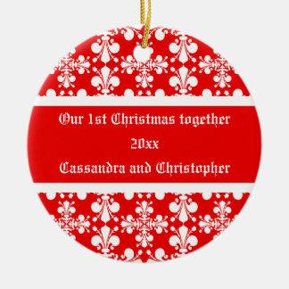 Elegant fleur de lys damask first Christmas Christmas Ornament