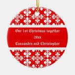 Elegant fleur de lys damask first Christmas Christmas Tree Ornaments
