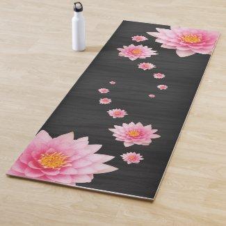 Elegant Floating Pink Lotus Flowers Yoga Mat