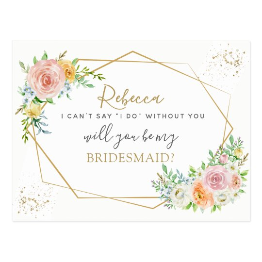 Elegant Floral and gold BRIDESMAID proposal Postcard