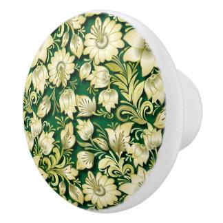 Elegant Floral and Green #2 Ceramic Knob