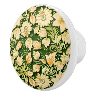 Elegant Floral and Green Ceramic Knob