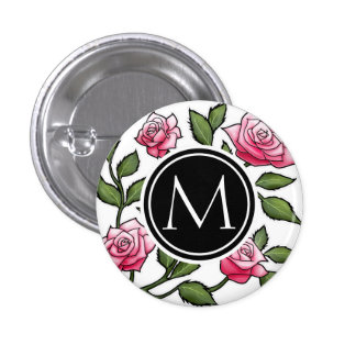 Elegant Floral and Monogram 3 Cm Round Badge