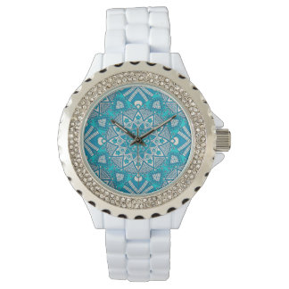 Elegant floral aqua Turquoise Boho tribal pattern Watch