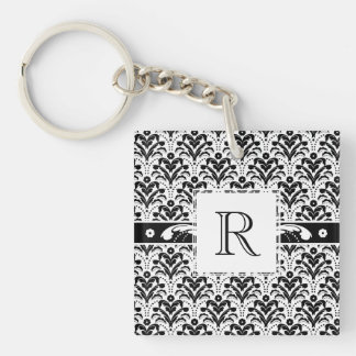 Elegant Floral Art Deco Damask 1930s Pattern Double-Sided Square Acrylic Keychain