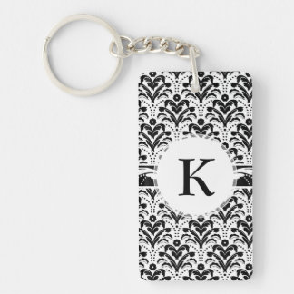 Elegant Floral Art Deco Damask 1930s Pattern Double-Sided Rectangular Acrylic Keychain