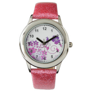 Elegant Floral Art  with Pink Glitter Strap Watch