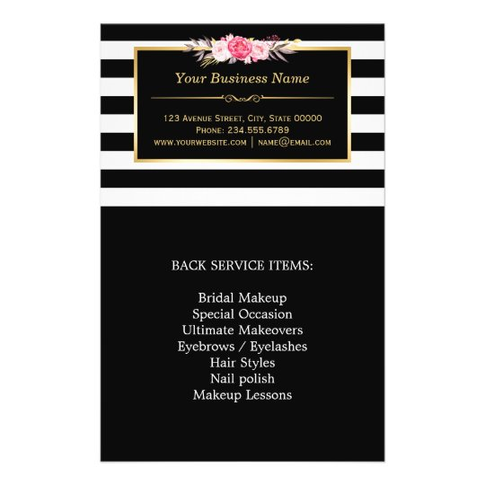 Elegant Floral Beauty Salon Stripes Double Sided Flyer