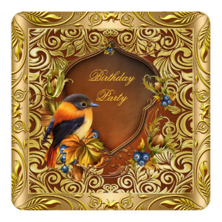 Elegant Floral Bird Coffee Gold Birthday Party 13 Cm X 13 Cm Square Invitation Card
