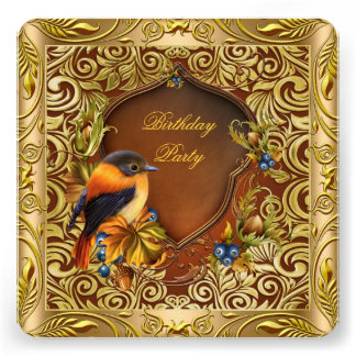 Elegant Floral Bird Coffee Gold Birthday Party Personalized Invitation