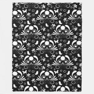 Elegant floral black and white fleece blanket