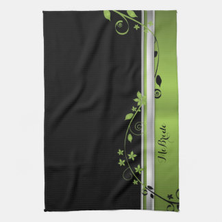 Elegant Floral Black & Green Kitchen Towel