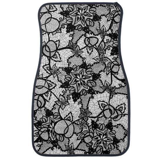 Elegant floral black hand drawn lace pattern car