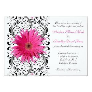 Elegant Floral Black Pink Daisy Wedding 13 Cm X 18 Cm Invitation Card