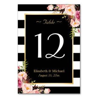 Elegant Floral Black Stripes Wedding Table Number
