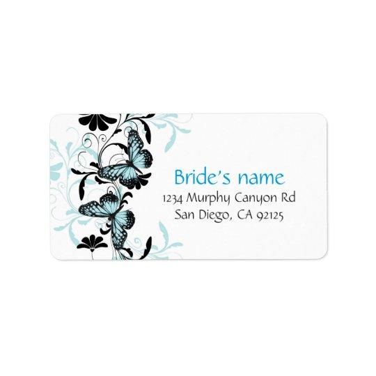 Elegant Floral Blue Butterfly Address Label