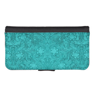 Elegant Floral Blue-Green Suede Leather Look iPhone SE/5/5s Wallet Case