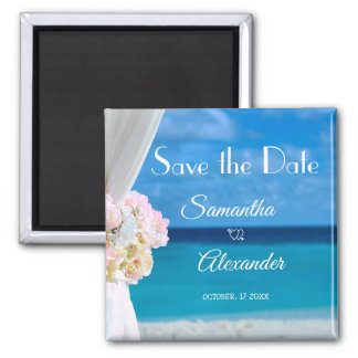 Elegant Floral Blue Ocean Beach Save the Date Magnet