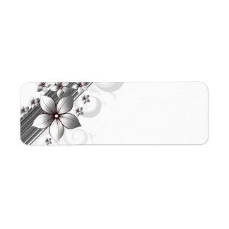 Elegant floral border labels in black