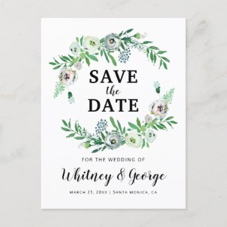 Elegant Floral Botanical Wedding Save the Date Announcement Postcard