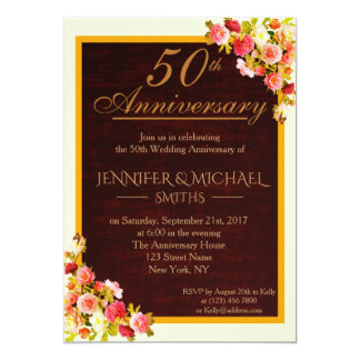 Elegant Floral Bouquet Wedding Anniversary Invite