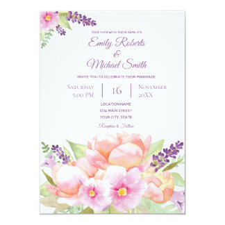 Elegant Floral Bouquet Wedding Invitation