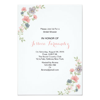 Elegant Floral Bridal Shower Invitaton Card
