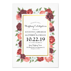 Elegant Floral Burgundy Fall Vintage Wedding