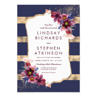 Elegant Floral Burgundy Navy and Gold Wedding Card
