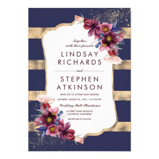 Elegant Floral Burgundy Navy and Gold Wedding Card