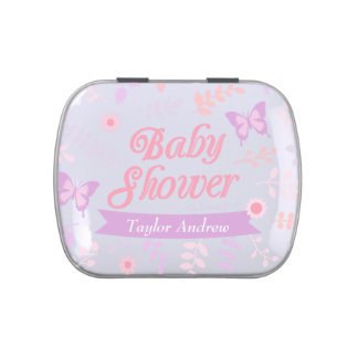 Elegant Floral Butterfly Baby Shower Party Treats Jelly Belly Candy Tins