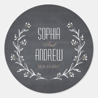 Elegant floral chalkboard rustic wedding monogram round sticker