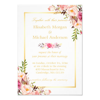 Elegant Floral Chic Gold White Formal Wedding 13 Cm X 18 Cm Invitation Card