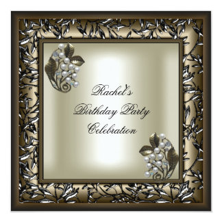 Elegant Floral Coffee Pearl Cream Birthday Party 13 Cm X 13 Cm Square Invitation Card