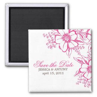 Elegant Floral Custom Save the Date Square Magnet