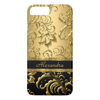 Elegant Floral Damask Black and Gold 3 iPhone 8 Plus/7 Plus Case