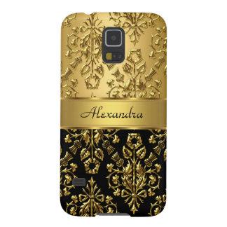 Elegant Floral Damask Black and Gold Galaxy S5 Case