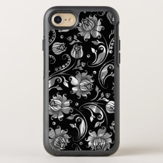 Elegant Floral Damasks Silver Texture On Black OtterBox Symmetry iPhone 7 Case