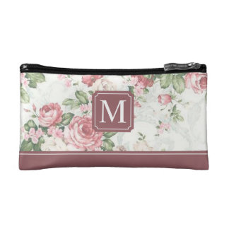 Elegant Floral Design Monogram | Cosmetic Bag